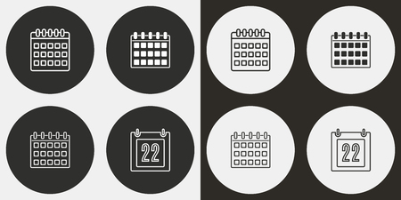 Calendar vector icons set. Illustration isolated for graphic and web design.
