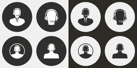 telemarketer: Assistance vector icons set. Illustration isolated for graphic and web design.