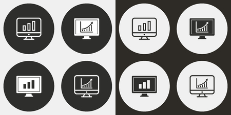 Diagram screen vector icons set. Illustration isolated for graphic and web design. Illustration