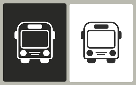 Bus - black and white icons. Vector illustration. Illustration