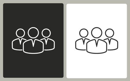 consult: People - black and white icons. Vector illustration.