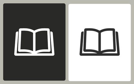 literature: Book - black and white icons. Vector illustration.