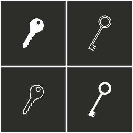 keyword: Key vector icons set. White illustration on a black background for graphic and web design.