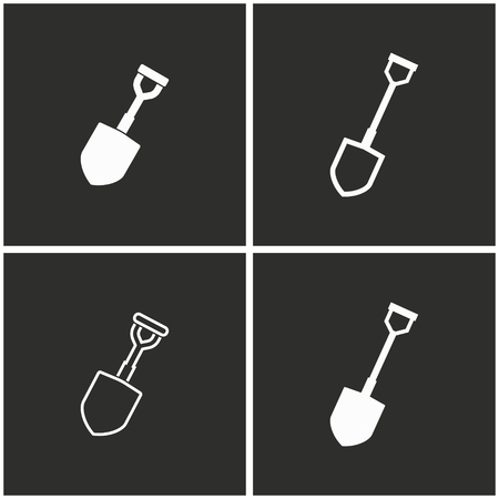 iron: Shovel vector icons set. White illustration on a black background for graphic and web design.
