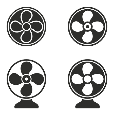 aeration: Fan vector icons set. Black illustration isolated for graphic and web design.