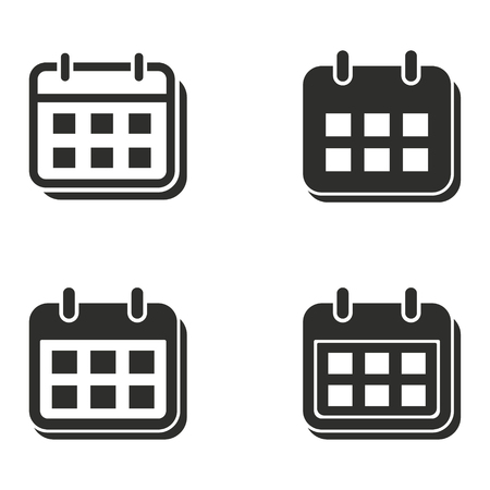 calendar icon: Calendar vector icons set. Black illustration isolated for graphic and web design.
