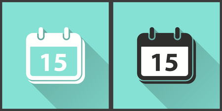 calendar icon: Calendar vector icon with long shadow. Illustration isolated for graphic and web design. Illustration