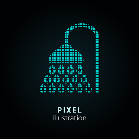 douche: Shower - pixel icon. Vector Illustration. Design logo element. Isolated on black background. It is easy to change to any color. Illustration
