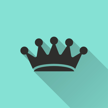Crown vector icon with long shadow. Illustration isolated for graphic and web design. Illustration