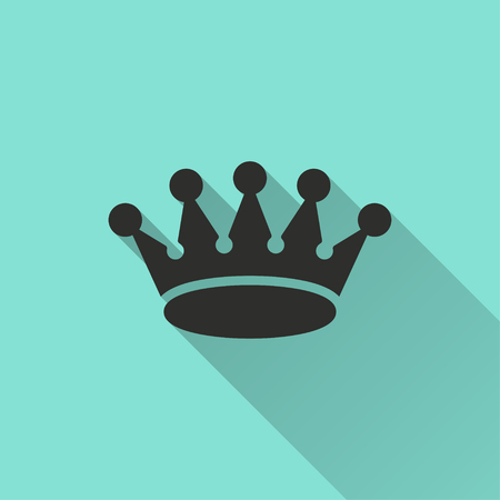 green gemstone: Crown vector icon with long shadow. Illustration isolated for graphic and web design. Illustration