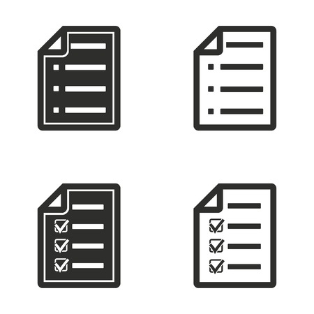 filling folder: Checklist vector icons set. Illustration isolated for graphic and web design. Illustration