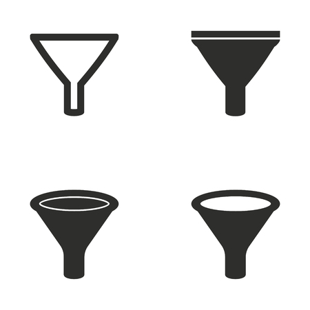 Funnel vector icons set. Illustration isolated for graphic and web design.