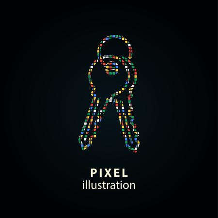 キー - ピクセルのアイコン。ベクトルの図。デザイン要素。黒の背景上に分離。任意の色に変更するは簡単です。