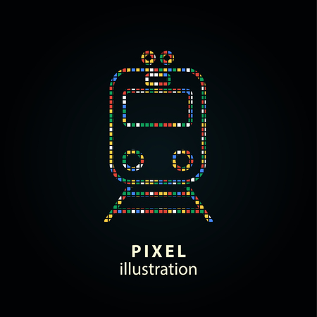 Metro - pixel icon. Vector Illustration. Design element. Isolated on black background. It is easy to change to any color.
