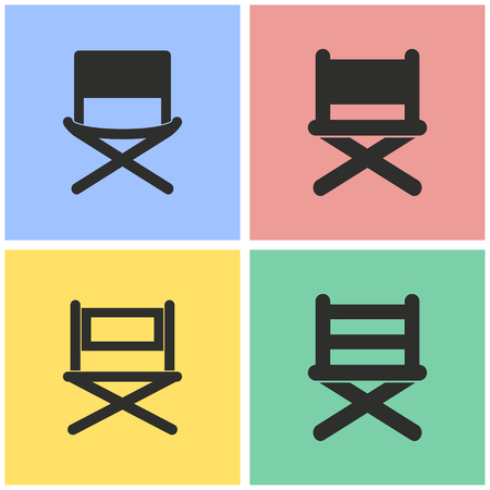 Director chair vector icons set. Black illustration isolated for graphic and web design. Illustration