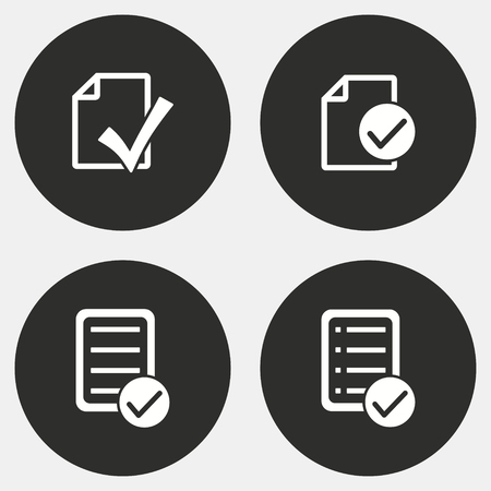 filling folder: Checklist vector icons set. White illustration isolated for graphic and web design. Circle buttons.