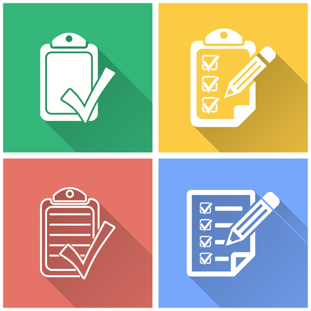 filling folder: Checklist vector icon with long shadow. White illustration isolated on color background for graphic and web design.