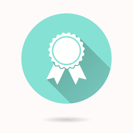 gratitude: Award vector icon with long shadow. White illustration for graphic and web design. Circle buttons. Illustration