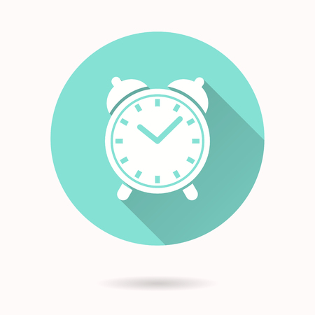 Clock vector icon with long shadow. White illustration for graphic and web design. Circle buttons. Фото со стока - 79891105