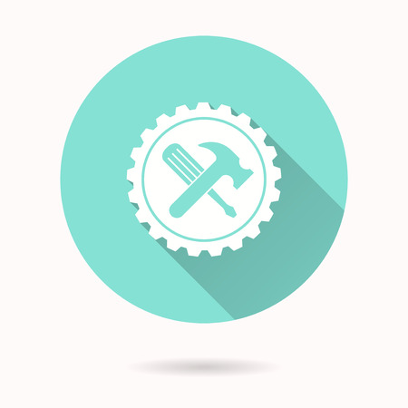 reconstruction: Tool vector icon with long shadow. White illustration for graphic and web design. Circle buttons.