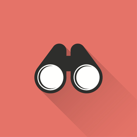 inspect: Binocular vector icon with long shadow. Illustration isolated on red background for graphic and web design.
