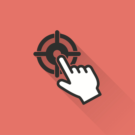 effectiveness: Target vector icon with long shadow. Illustration isolated on red background for graphic and web design. Illustration