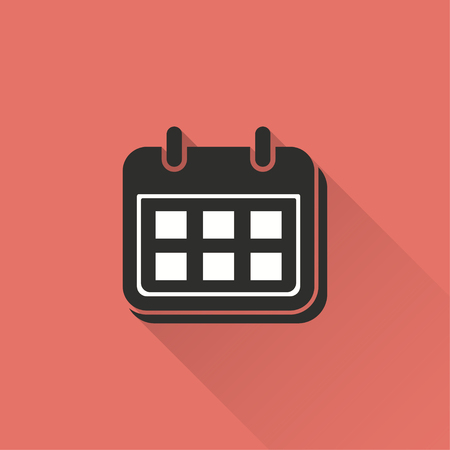 end month: Calendar vector icon with long shadow. Illustration isolated on red background for graphic and web design.