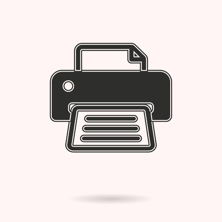 printout: Printer vector icon. Black illustration isolated on white background for graphic and web design.