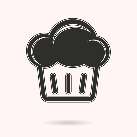 cupcakes isolated: Cake vector icon. Black illustration isolated on white background for graphic and web design.