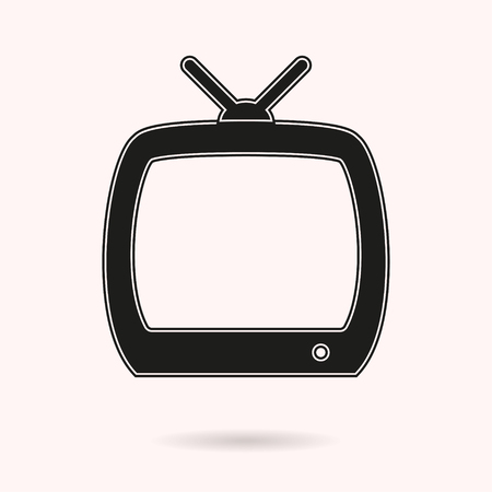 TV vector icon. Black illustration isolated on white background for graphic and web design.