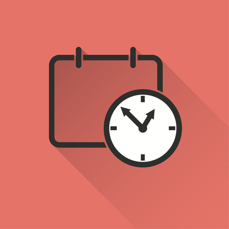 Planning calendar vector icon with long shadow. Illustration isolated on red background for graphic and web design. Illustration