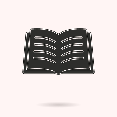 reader: Book vector icon. Black illustration isolated on white background for graphic and web design. Illustration