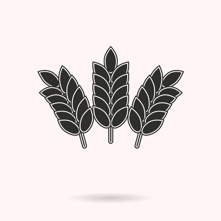 Barley vector icon. Black illustration isolated on white background for graphic and web design. Illustration
