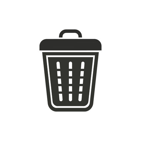sewage: Bin vector icon. Black illustration isolated on white background for graphic and web design.