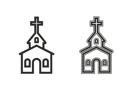reverse: Church vector icon. Black illustration isolated on white background for graphic and web design.
