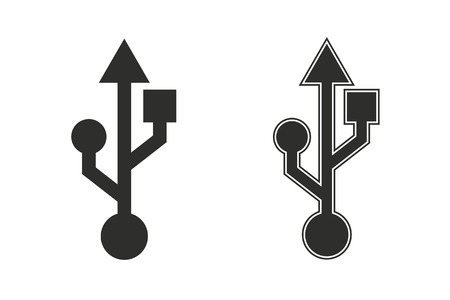 Usb vector icon. Black illustration isolated on white background for graphic and web design.