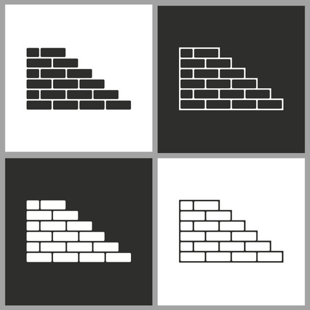 rectangle button: Brick wall - black and white vector icons for graphic and web design.