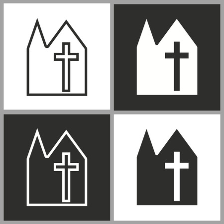 reverse: Church - black and white vector icons for graphic and web design.