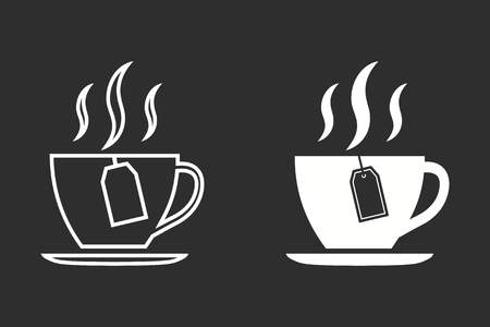Tea vector icon. White illustration isolated on black background for graphic and web design.