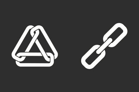 hyperlink: Link vector icon. White illustration isolated on black background for graphic and web design.