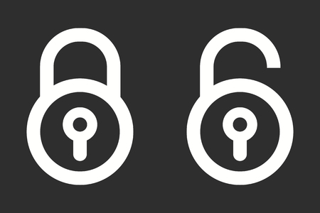 Lock vector icon. White illustration isolated on black background for graphic and web design.