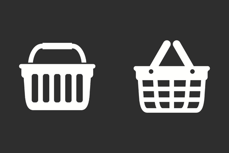 Shopping basket vector icon. White illustration isolated on black background for graphic and web design.
