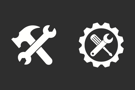 Tool vector icon. White illustration isolated on black background for graphic and web design. Illustration