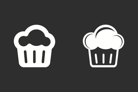 Cake vector icon. White illustration isolated on black background for graphic and web design. Illustration