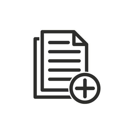 ファイルのベクトルのアイコンを追加します。黒のグラフィックや web デザイン、白い背景で隔離の図。  イラスト・ベクター素材