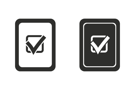 filling folder: Checklist vector icon. Black illustration isolated on white background for graphic and web design.