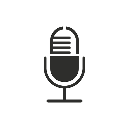 amplification: Microphone vector icon. Black illustration isolated on white background for graphic and web design.