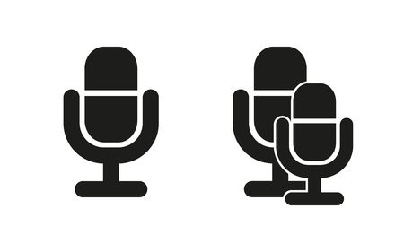 electronic music: Microphone vector icon. Black illustration isolated on white background for graphic and web design.