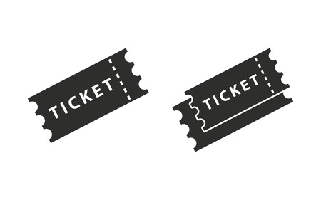 Ticket vector icon. Black illustration isolated on white background for graphic and web design.