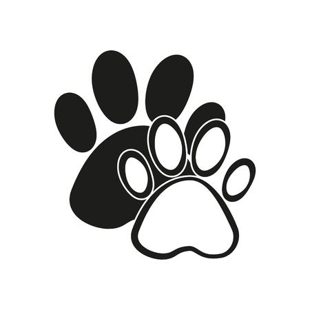 silueta de gato: Paw vector icon. Black illustration isolated on white background for graphic and web design.